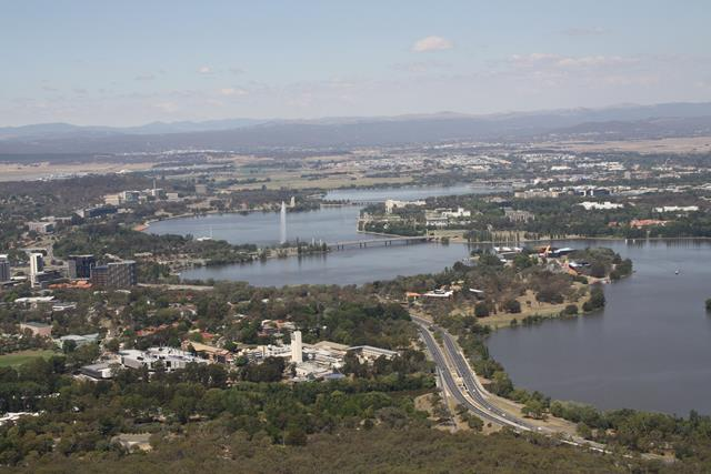 The view from Black Mountain Tower Canberra