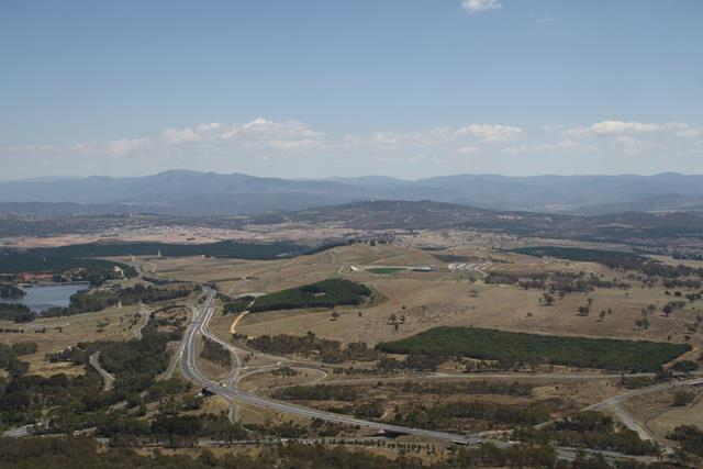 View from Black Mountain over to Mount Stromlo