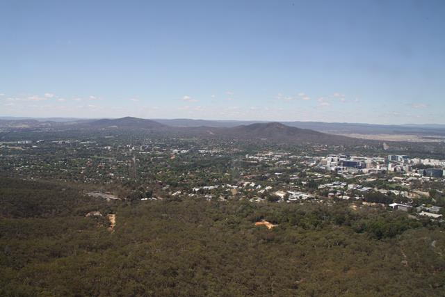 View from Black Mountain over to Mount Ainslie